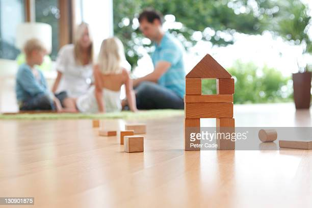 house shaped building bricks and family