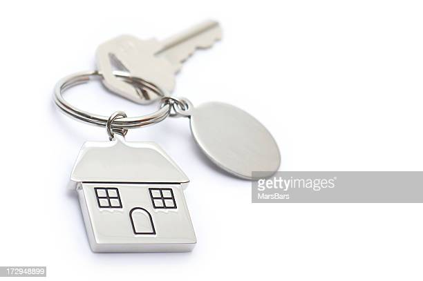 House shaped keychain with blank tag