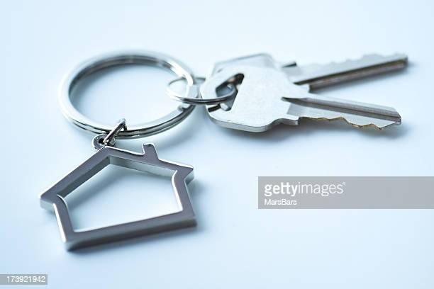 House shaped keychain with keys