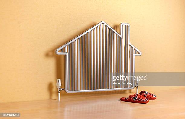 House shaped radiator with slippers