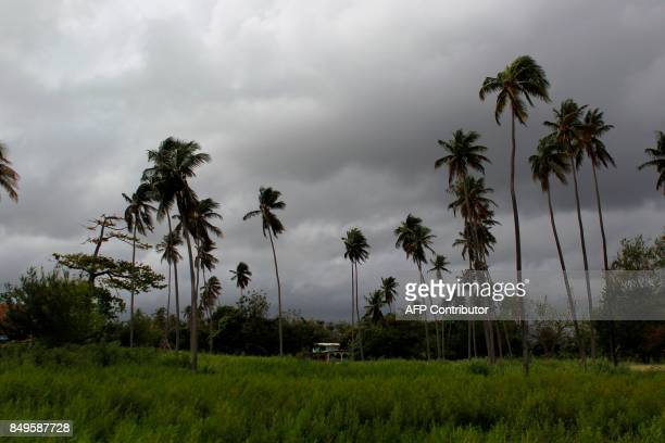 TOPSHOT A house sits surrounded by palm trees as Hurricane Maria approaches the island in Loiza Puerto Rico Tuesday Sept 18 2017 Maria headed towards...