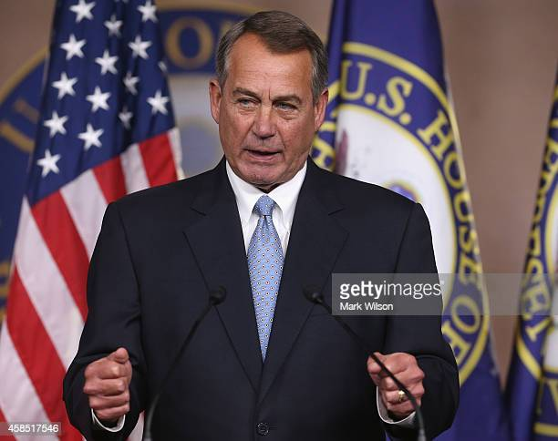House Speaker Boehner John Boehner speaks to the media during a news conference at the US Capitol November 6 2014 in Washington DC 2014 in Washington...