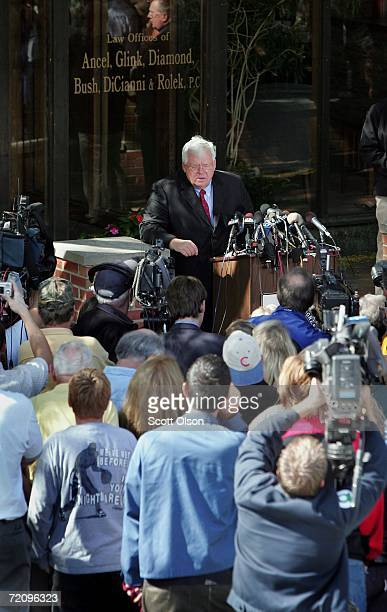 House Speaker Dennis Hastert speaks to the media outside his office October 5 2006 in Batavia Illinois Hastert who is under fire for not addressing...