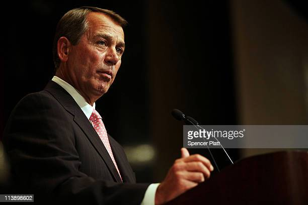 House Speaker John A Boehner addresses the Economic Club of New York on May 9 2011 in New York City Boehner is demanding that President Obama and...