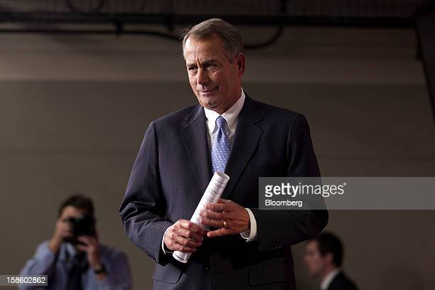 House Speaker John Boehner a Republican from Ohio arrives to a news conference in Washington DC US on Thursday Dec 20 2012 House Republicans plan a...