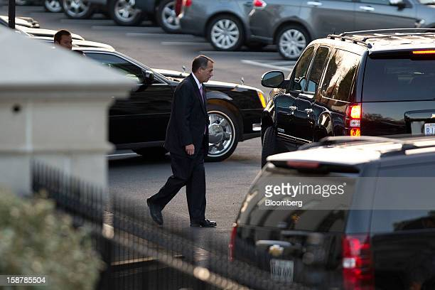 House Speaker John Boehner a Republican from Ohio leaves after a meeting with US President Barack Obama at the White House in Washington DC US on...