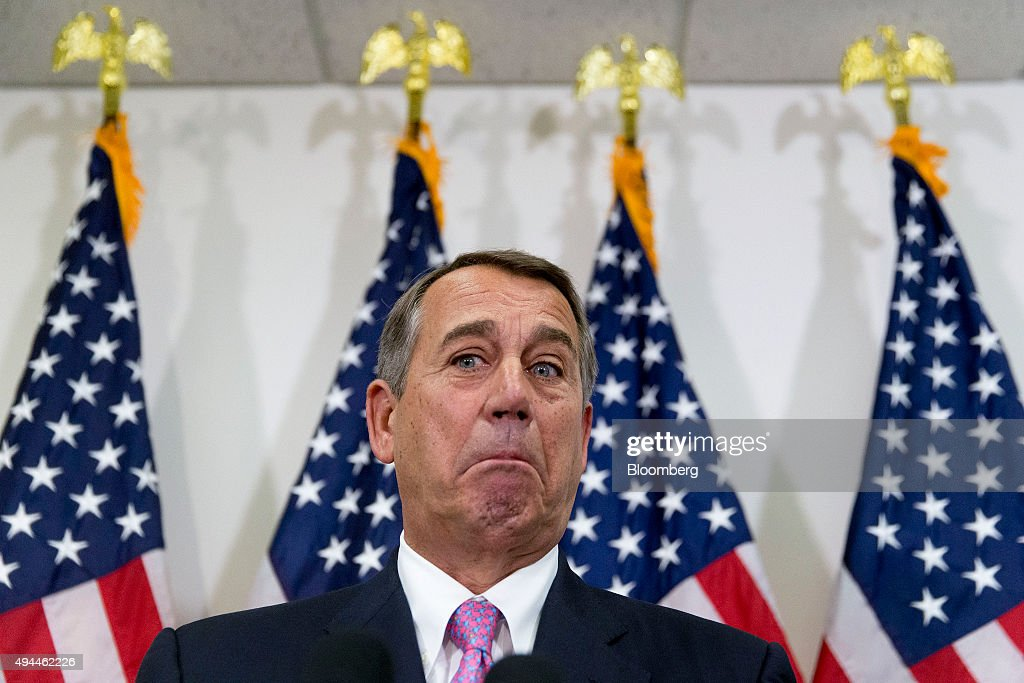U.S. House Speaker John Boehner, a Republican from Ohio, pauses while speaking during a news conference after a House Republican meeting in the basement of the U.S. Capitol in Washington, D.C., U.S., on Tuesday, Oct. 27, 2015. President Barack Obama and top lawmakers from both parties reached a tentative budget agreement that would avert a U.S. debt default and lower chances of a government shutdown, lessening years of political friction over fiscal policy in Washington. Photographer: Andrew Harrer/Bloomberg via Getty Images