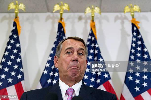 US House Speaker John Boehner a Republican from Ohio pauses while speaking during a news conference after a House Republican meeting in the basement...