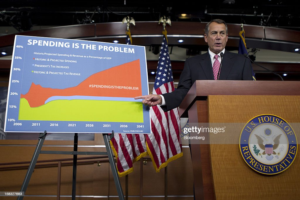 House Speaker John Boehner, a Republican from Ohio, points to a sign during a news conference in Washington, D.C., U.S., on Thursday, Dec. 13, 2012. Boehner repeated his insistence that President Barack Obama's budget proposal is 'anything but' balanced and accused the president of being 'not serious' about cutting spending. Photographer: Andrew Harrer/Bloomberg via Getty Images