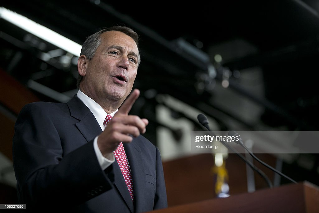 House Speaker John Boehner, a Republican from Ohio, speaks during a news conference in Washington, D.C., U.S., on Thursday, Dec. 13, 2012. Boehner repeated his insistence that President Barack Obama's budget proposal is 'anything but' balanced and accused the president of being 'not serious' about cutting spending. Photographer: Andrew Harrer/Bloomberg via Getty Images