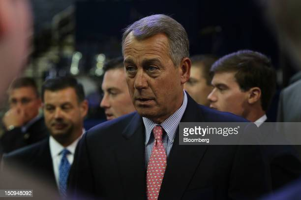 House Speaker John Boehner, a Republican from Ohio, speaks to the media at the Republican National Convention in Tampa, Florida, U.S., on Wednesday,...