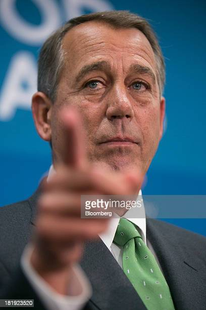 House Speaker John Boehner, a Republican from Ohio, takes a reporter's question during a news conference following a meeting in Washington, D.C.,...