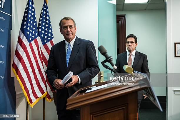 House Speaker John Boehner and House Majority Leader Eric Cantor arrive for a news conference in the US Capitol on February 5 2013 in Washington DC...