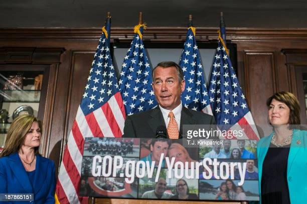 House Speaker John Boehner and House Republican leaders Rep Lynn Jenkins and Rep Cathy McMorris Rodgers speak to the press after a conference meeting...