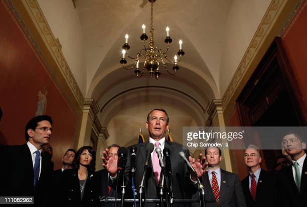 House Speaker John Boehner and other House GOP leaders hold a media availability in the Speaker's offices in the US Capitol March 29 2011 in...