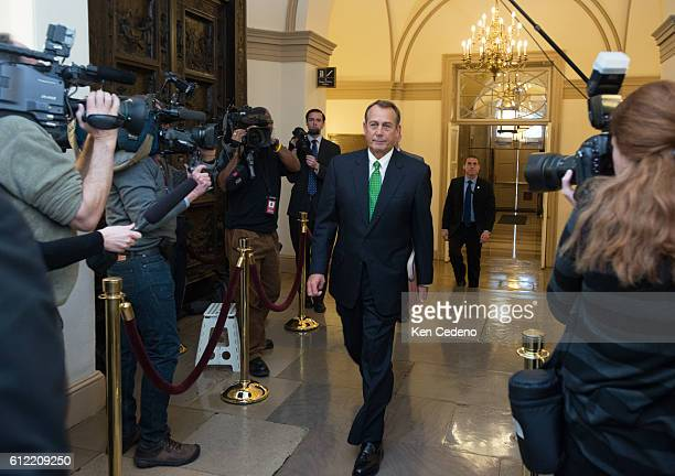 House Speaker John Boehner arrives at the US Capitol in Washington DC on Tues Jan 1 2013 US lawmakers worked hard toward a midnight deadline averting...