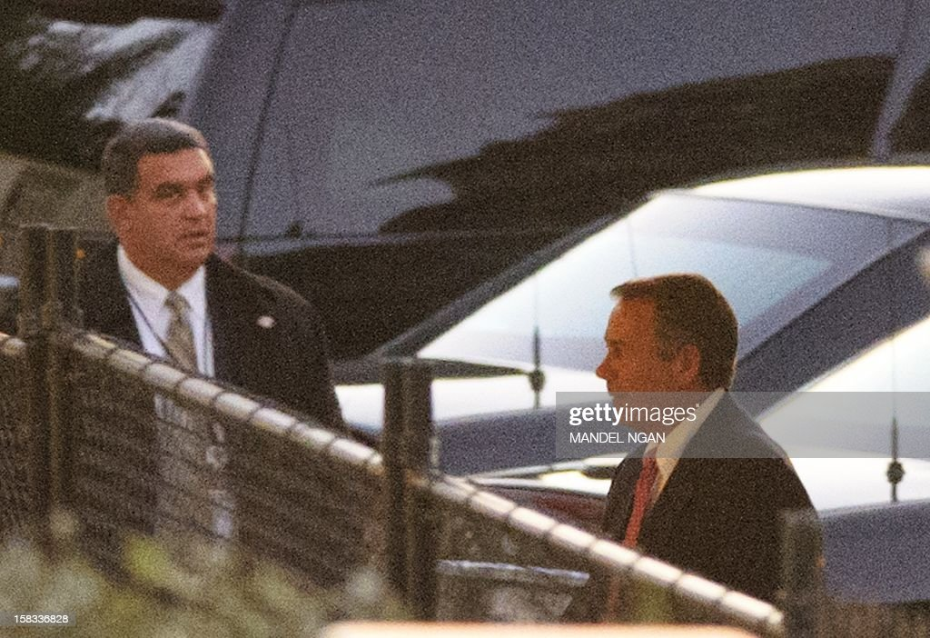 House Speaker John Boehner arrives at the Westwing of the White House for a meeting with US President Barack Obama over the deadlock in the 'fiscal cliff' tax and austerity crisis on December 13, 2012 in Washington, DC. AFP PHOTO/Mandel NGAN