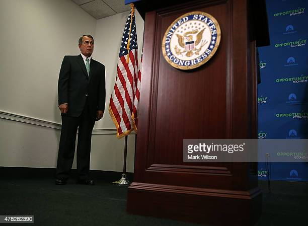 House Speaker John Boehner attends a news conference on Capitol Hill June 24 2015 in Washington DC Speaker Boehner spoke on various topics including...