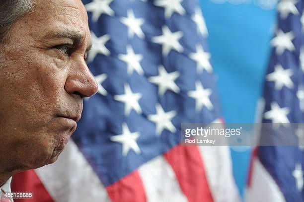 House Speaker John Boehner listens to others form the GOP leadership during a media availability following a Republican Conference meeting at the...
