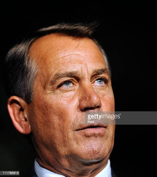 House Speaker John Boehner makes a statement after meeting with President Barack Obama at the White House April 6 2011 in Washington DC President...