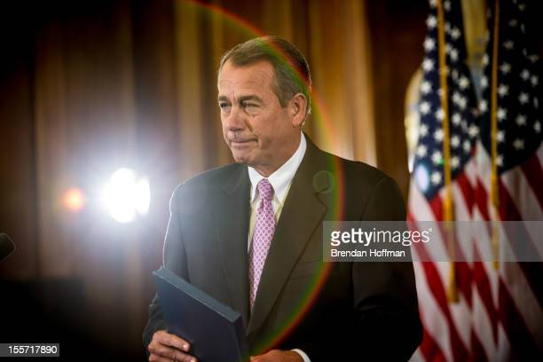 House Speaker John Boehner makes remarks on Capitol Hill on November 7 2012 in Washington DC Boehner discussed the looming fiscal cliff and called on...