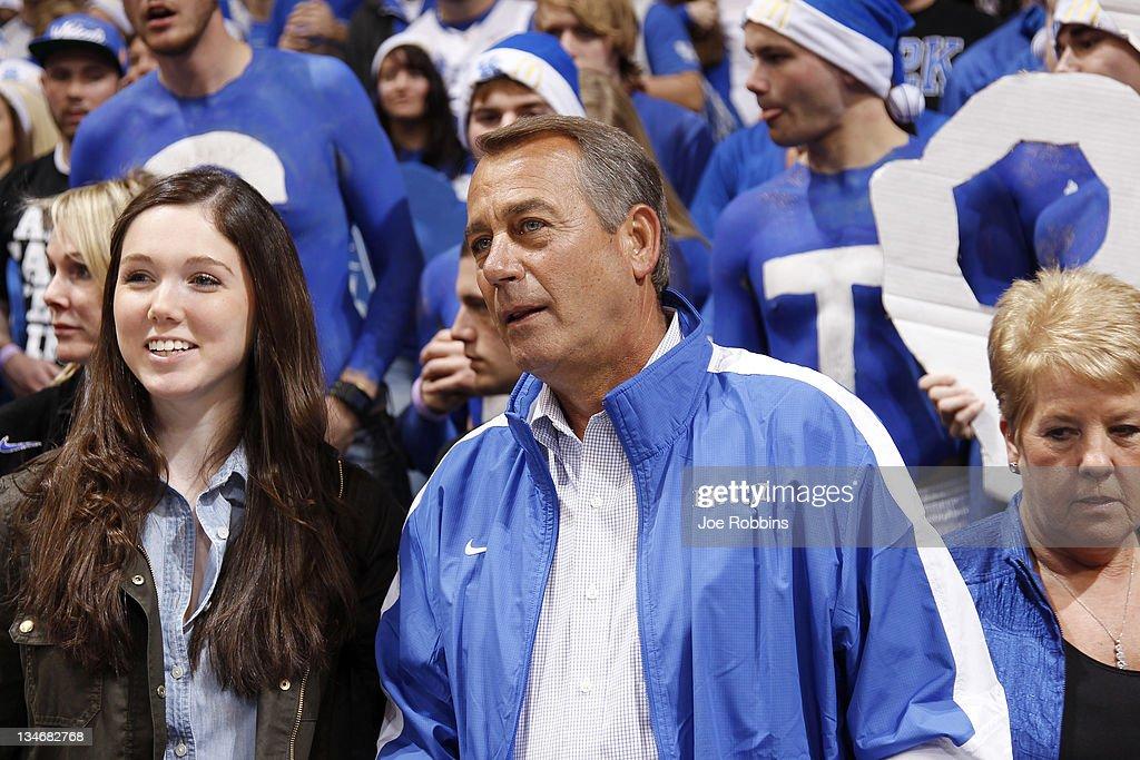 House Speaker John Boehner of Ohio looks on before the basketball game between the North Carolina Tar Heels and Kentucky Wildcats at Rupp Arena on December 3, 2011 in Lexington, Kentucky. Kentucky won 73-72.