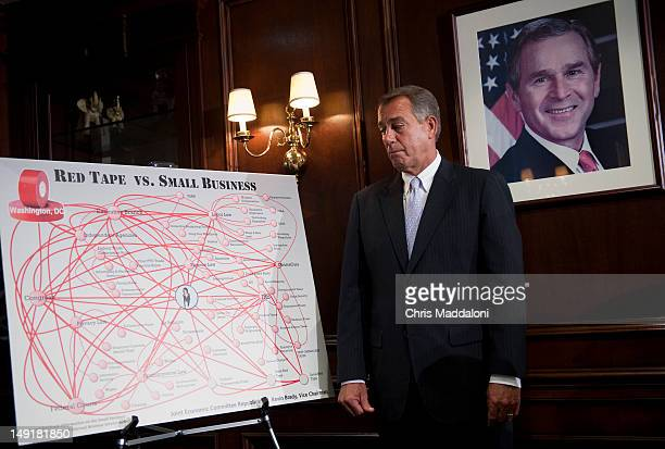 House Speaker John Boehner ROhio speaks to the press after a Republican Conference meeting The GOP members focused on measures they will take in the...