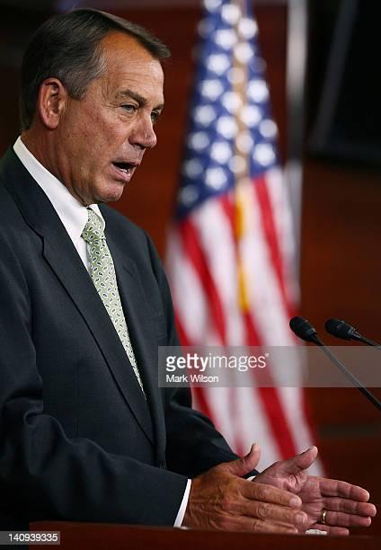 House Speaker John Boehner speaks at his weekly news conference on March 8, 2012 in Washington, DC. Speaker Boehner urged the U.S. Senate to take...