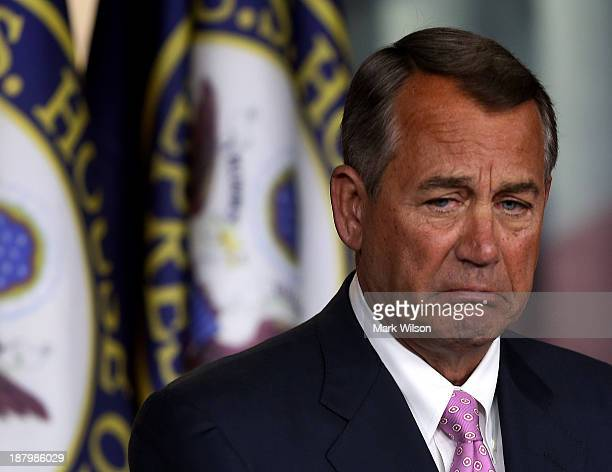 House Speaker John Boehner speaks during his weekly news conference at the US Capitol November 14 2013 in Washington DC Speaker Boehner spoke about...