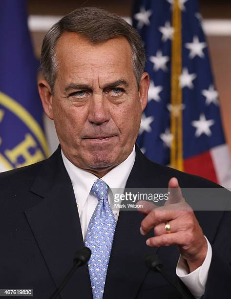 House Speaker John Boehner speaks to the media during a news conference at the US Capitol March 26 2015 in Washington DC During his speech Speaker...