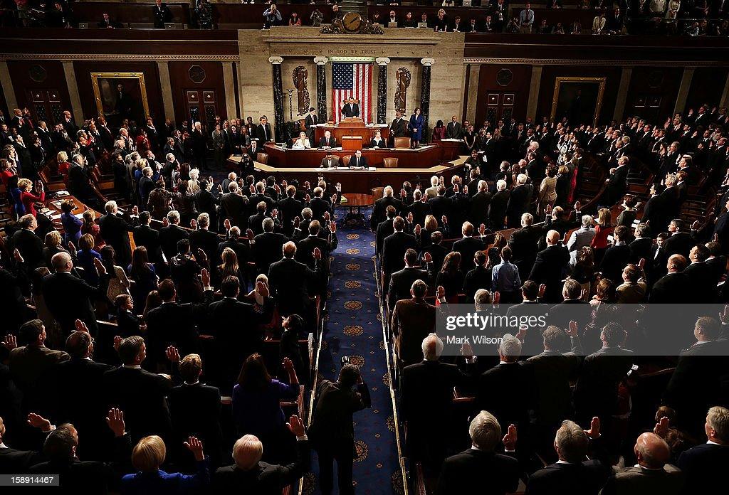 House Speaker Boehner Presides Over Opening Session Of Congress : News Photo