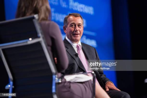 House Speaker John Boehner talks with moderator Erin Burnett at the 2012 Fiscal Summit on May 15, 2012 in Washington, DC. The third annual summit,...
