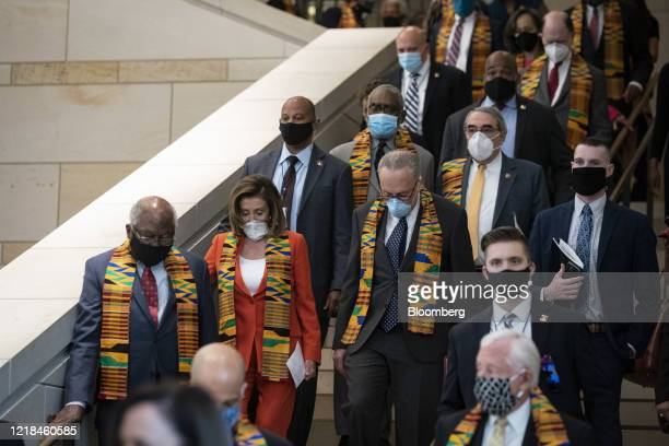US House Speaker Nancy Pelosi a Democrat from California and Senate Minority Leader Chuck Schumer a Democrat from New York arrive with House and...