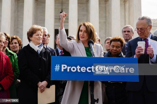 House Speaker Nancy Pelosi, a Democrat from California, center, speaks during an event with House and Senate Democrats on protecting the Affordable...