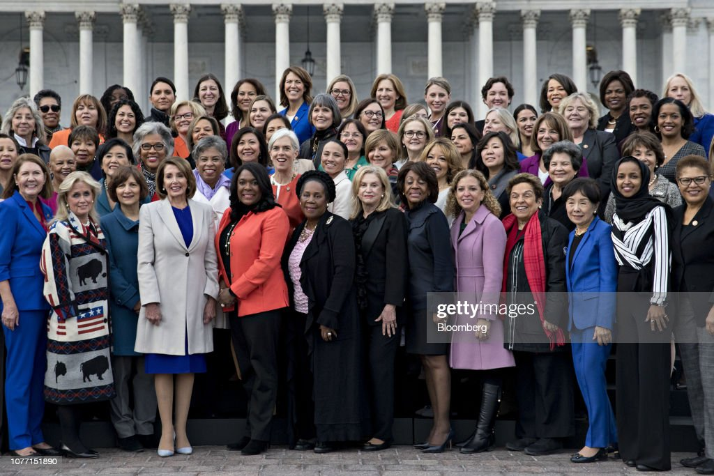 House Speaker Nancy Pelosi Stands With House Democratic Women Members Of The 116th Congress : News Photo
