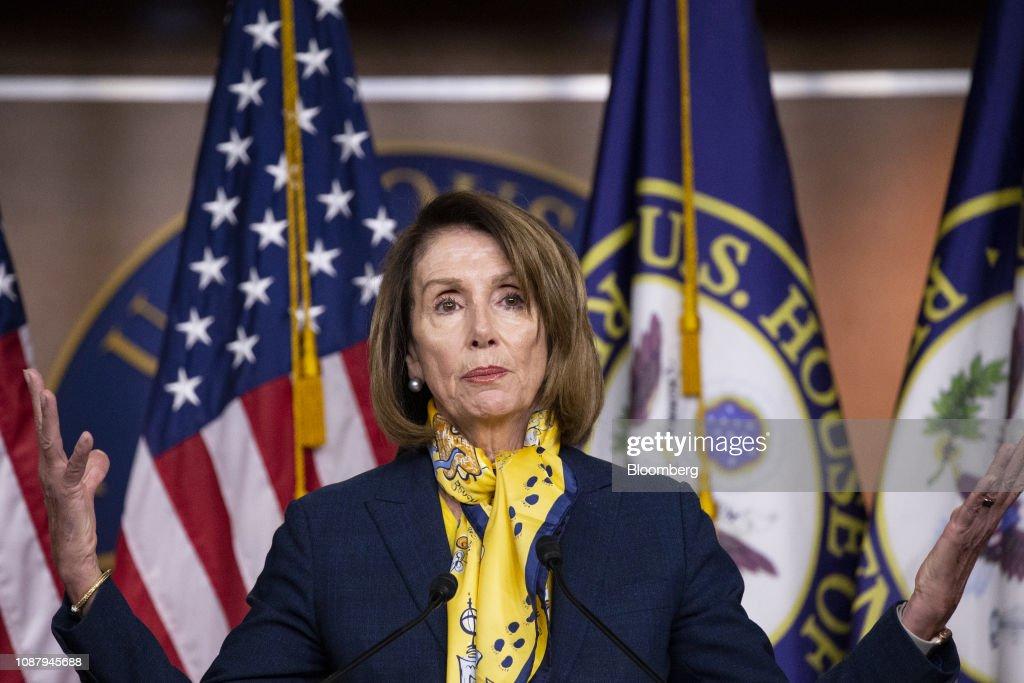House Speaker Nancy Pelosi Holds Press Conference As U.S. Enters Day 34 Of Shutdown : News Photo
