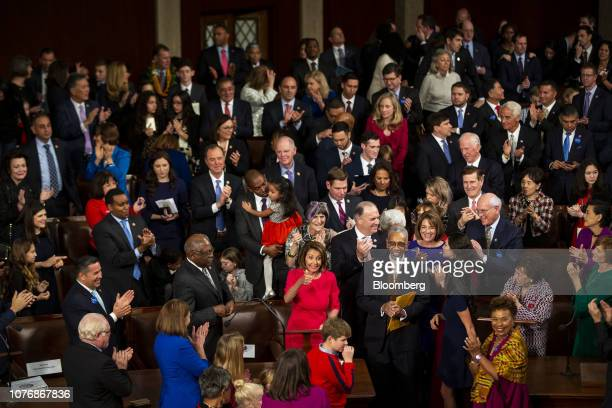 US House Speaker Nancy Pelosi a Democrat from California gives a thumbs up as she secures the majority vote during the opening of the 116th Congress...