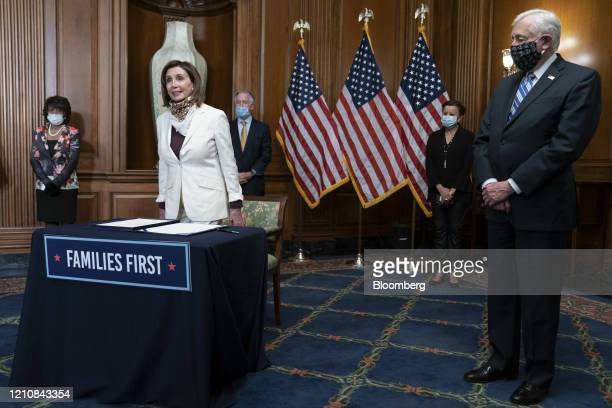 House Speaker Nancy Pelosi, a Democrat from California, participates in a signing ceremony of H.R. 266, The Paycheck Protection Program and Health...