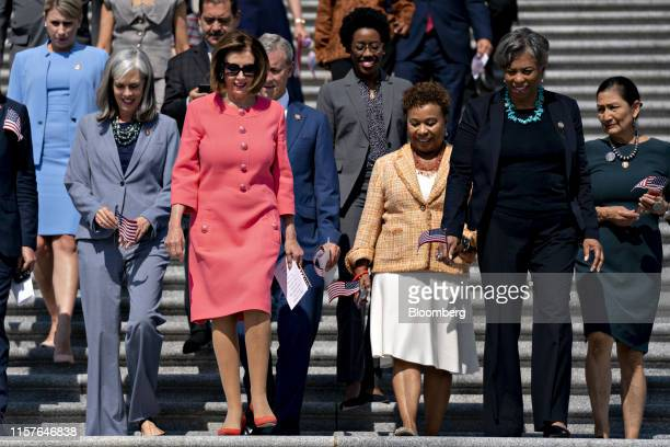 US House Speaker Nancy Pelosi a Democrat from California second left and House Democrats arrive to a press event on the first 200 days of the 116th...
