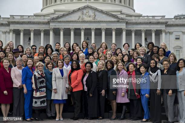 US House Speaker Nancy Pelosi a Democrat from California sixth left stands for a photograph with House Democratic women members of the 116th Congress...