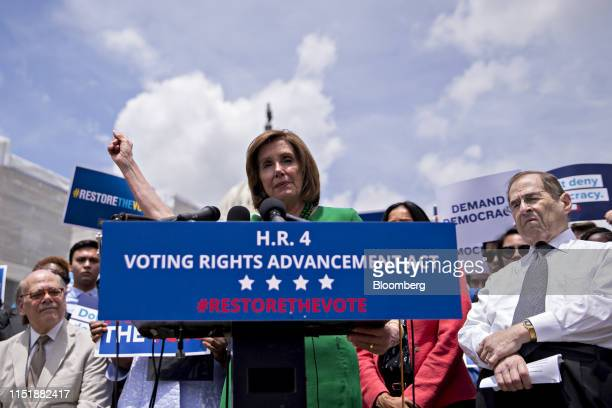 US House Speaker Nancy Pelosi a Democrat from California speaks as Representative Jerry Nadler a Democrat from New York and chairman of the House...