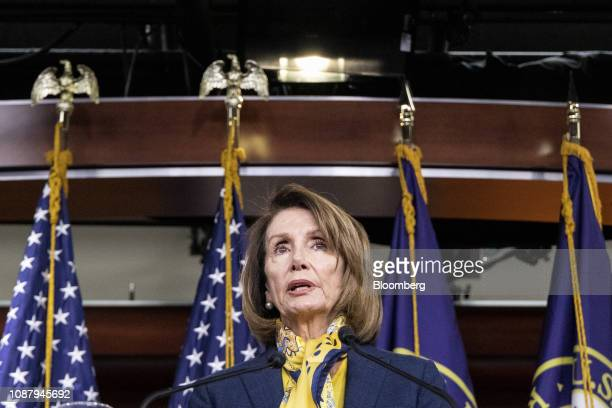 US House Speaker Nancy Pelosi a Democrat from California speaks during a news conference at the US Capitol in Washington DC US on Thursday Jan 24...