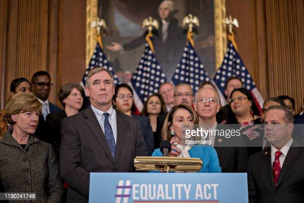 US House Speaker Nancy Pelosi a Democrat from California speaks during a news conference introducing the Equality Act HR 5 with Senate and House...