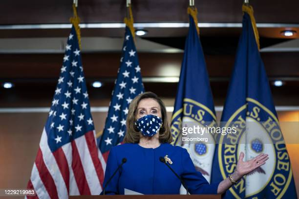 US House Speaker Nancy Pelosi a Democrat from California speaks during a news conference at the US Capitol in Washington DC US on Thursday Oct 22...