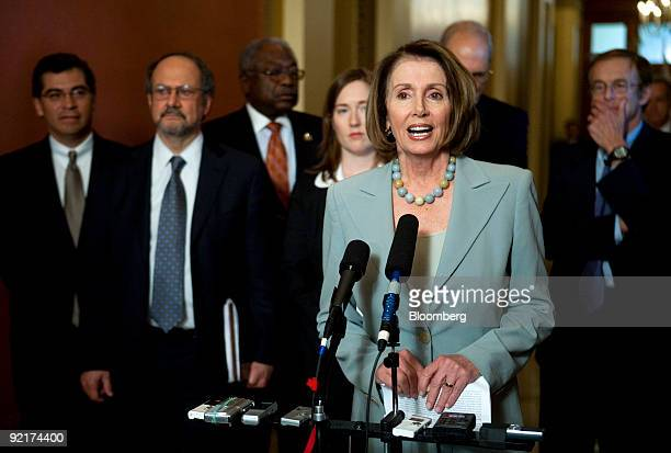 US House Speaker Nancy Pelosi a Democrat from California speaks during a news conference following a meeting with Democratic leaders and economic...