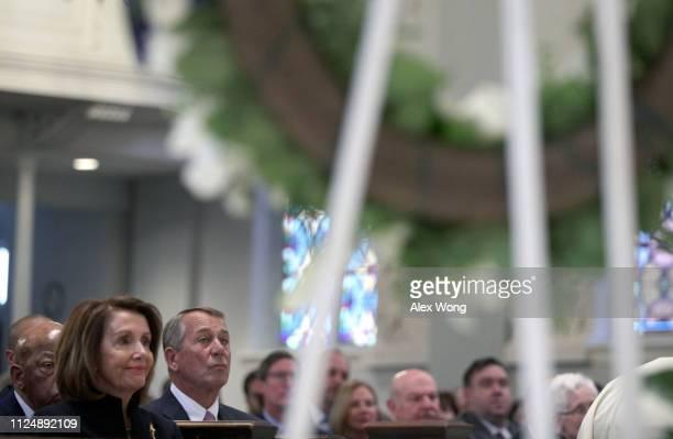 House Speaker Nancy Pelosi and Former House Speaker John Boehner attend the funeral mass for former Rep John Dingell at Holy Trinity Church February...
