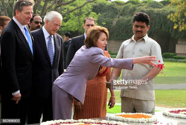 House Speaker Nancy Pelosi and others pays floral tribute at the memorial of Mahatma Gandhi in New Delhi