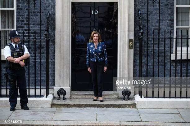 House Speaker Nancy Pelosi arrives for a meeting with Prime Minister Boris Johnson at Downing Street on September 16, 2021 in London, England. The...