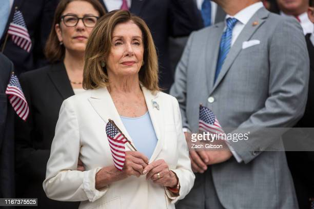 House Speaker Nancy Pelosi attends an observance and campus wide moment of silence for the National Day of Service and Remembrance honoring victims...