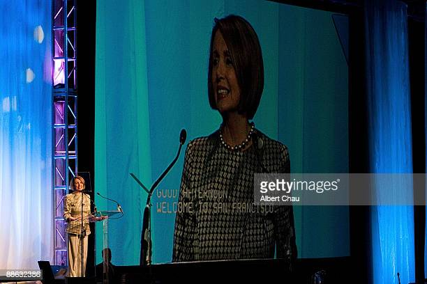 House Speaker Nancy Pelosi attends the National Conference on Volunteering and Service at Moscone Convention Center on June 22 2009 in San Francisco...
